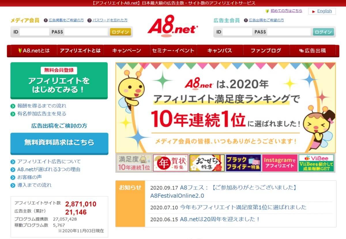 A8netのウェブサイト